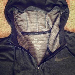 Men's Nike lightweight zip-front hoodie.